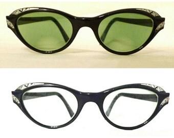Vintage 50s 60s Rhinestone Cat Eye Glasses Frame in Mocha Brown-Black RXable Eyeglasses Sunglasses Women