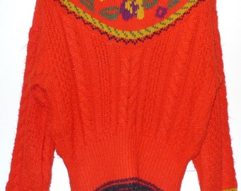Vintage 80s Orange Fair Isle Floral Sweater / NonWool Cropped Fit Pullover Cable Knit Top Jumper on sale