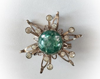 Vintage Green Lucite Confetti and Rhinestone Atomic Star Brooch