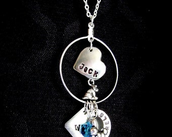 Dog Puppy Pet Lover or Memorial Custom Charm Necklace - Hand Stamped GRRR Wuf Good Boy