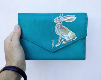Jackalope wallet - handpainted and upcycled turquoise leather Rolodex for business cards, checkbooks and one pen - one of a kind