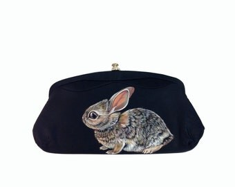 Sale Vegan Alert Baby Cottontail Rabbit clutch - handpainted, small vintage 1950s black satin evening purse - vegan, one of a kind