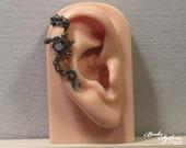 teal STEAMPUNK cartilage EAR CUFF - wire wrapped ear cuff, bronze & teal earcuff, steampunk jewelry, no piercing ear cuff, gear ear cuff