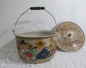 Autumn Decor Hand Painted Scarecrow Aluminum Pail with Lid