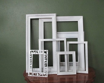 Picture Frames Upcycled Set of 7 Vintage Various Size Open Frames