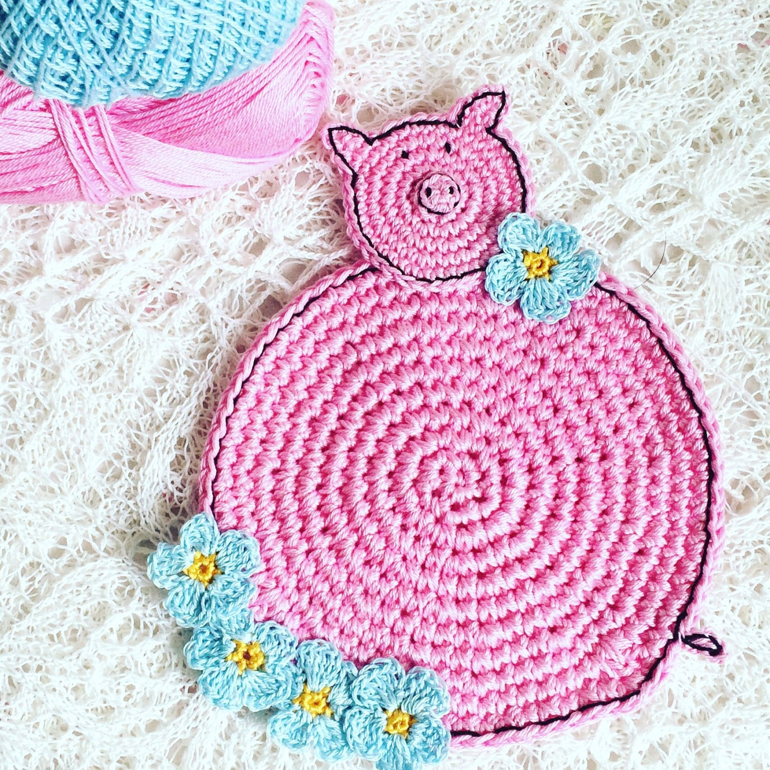 Crochet Coasters Pig Coasters Farmhouse Kitchen Decor