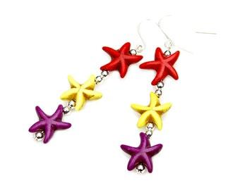 Colorful Starfish Earrings Long Beachy Dangles Sea Ocean Jewelry Coral Red Yellow Deep Purple Boho Chic Beach Nautical Fun Fashion Mei Faith