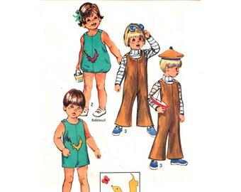 Toddler Jumpsuit & Bubblesuit Pattern Simplicity 8811 Romper Buttoned Shoulders Sunsuit Applique Toddler Boys Girls Sewing Pattern Size 3