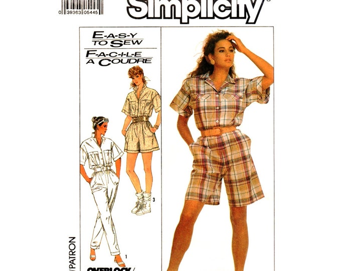 80s Jumpsuit or Romper Pattern Simplicity 8621 Coveralls Playsuit Button Front Size 10 12