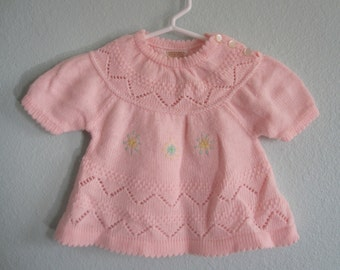 Vintage Baby Pink Sweater Dress - Sweet Pink Pointelle Baby Girl Sweater with Yellow Flowers - Vintage Baby Sweater Newborn 3M 6M