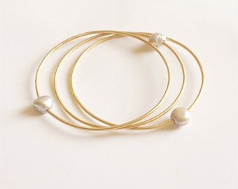 Pearl Bangle Bracelet Brass Bangle gold tone sterling silver Gold Bangle floating pearl fresh water pearl 0240