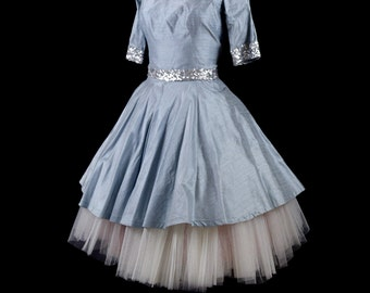 Cathy - Pale Blue Silk Dress - Sequin Trim and Full Skirt - Made to Order