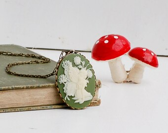 Fairy Cameo Pendant, Green Ivory Cameo, Garden Fairy Necklace, Fairy Silhouette Cameo, Gift for Her, Bridesmaid Gift, Sage Green Forest