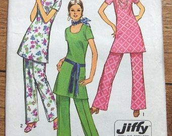 Vintage 70s pattern Simplicity 9363 Misses Jiffy TUNIC with 3 necklines and PANTS uncut sz 12 B 34