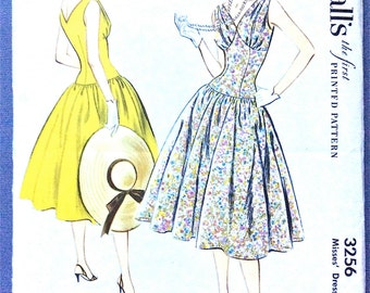1950s Dress Pattern McCall's 3256 circa 1955 Misses' Dress upper bodice gathered  low V-neckline Bust 30 Vintage Sewing Pattern