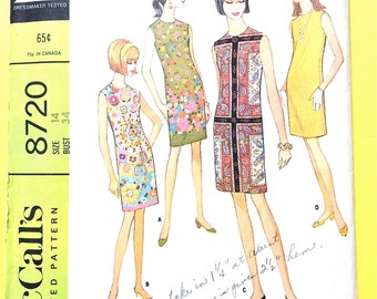 60s McCall's 8720 Misses' Junior Dress Sleeveless one-piece slim dress front armhole darts border prints Vintage Sewing Pattern Bust 34