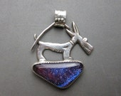 Purple Dog- Dichroic Glass and Sterling Silver Pendant