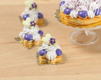 Purple French St Honoré - Individual Pastry - Miniature Food for Dollhouse 12th scale 1:12