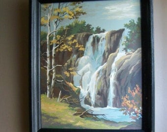Vintage Framed Paint by Number Painting ~ Waterfall in the Woods ~ Nature ~ #2