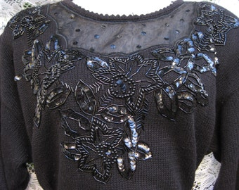 Gift It PLUS Size SEQUINED Cotton Ramie Victorian inspired sweater, vintage black sequin sweater, beaded sequins sweater, 1980s 80s beaded