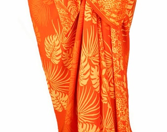 Orange Beach Sarong Pareo Wrap - Batik Sarong Cover Up - Mens or Womens Clothing Swimwear - Hawaiian Tropical Jungle Leaf Sarong Beachwear