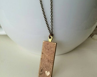 Engraved Heart Necklace Mixed Metal Tag Vintage Brass - Little Heart, So Much Love