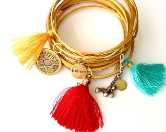 Bohemian stacked bangle set, brass stacked bangles, tassel bangles, charm bracelet, Indian bracelets,