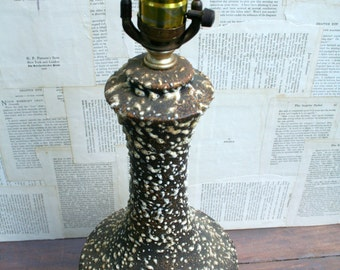 Mid Century Brown and White Speckled Table Lamp
