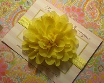 Yellow Baby Headband, Yellow infant Headband, Flower Headband, Newborn Headband, Toddler Headband, Yellow Hair Bow,