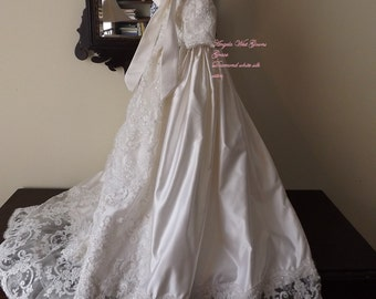 Grace christening gown by Angela West. Diamond white silk satin with beaded lace