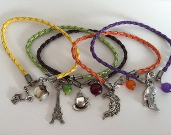 Charm Bracelets Leather Braid Set of 5