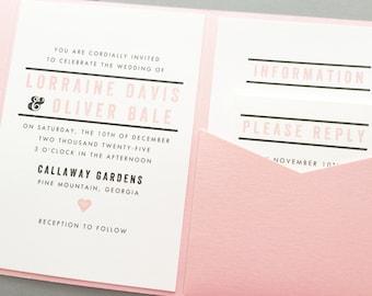 Pocketfold Wedding Invitation, Pocket Wedding Invitation, Pocket Wedding Invite, Blush and Gray Wedding Invitation Suite, Pocket Fold