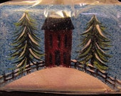 Winter Saltbox House Hand Painted Soap