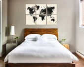 Distressed World Map Wall Art - Large Vintage Map Print Collection on Wood Panels - Wedding Gift