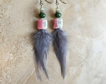 50% OFF Feather Earrings - Colorful Feather Earrings - Silver Grey Beaded Feather Earrings (Ready to Ship)