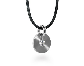 Taormina Two Tone White Sapphire Pendant in Stainless Steel