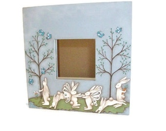 Hand Painted Bunnies On Ikea Framed Mirror