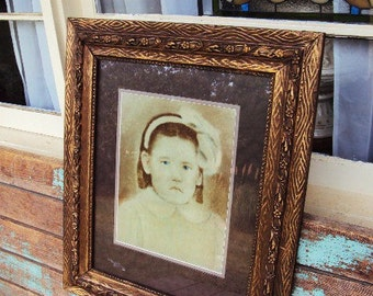 Antique Large Wood and Gesso Frame Picture Frame Childs Portrait Little Girl Frame Early 1900s Matted Picture Ornate Baroque Frame
