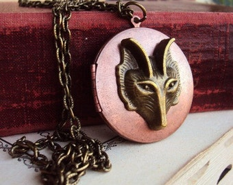 Vintage Large Copper Locket Brass Fox Necklace Embellished Photo Locket Antique Brass and Copper Bohemian Chic Boho Gypsy Long Chain