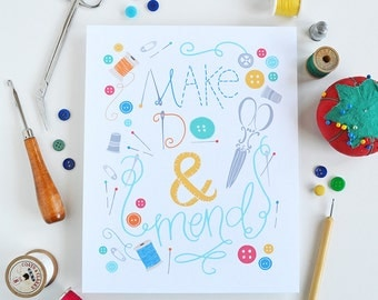Make Do & Mend, Happiness is Handmade, I love sewing, spool of thread, creativity, I love to sew, sew happy, buttons, art print