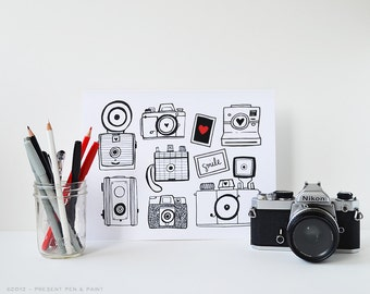 Vintage Camera Art, Cameras, Photography, I love photography, Hand Drawn, Illustration, Vintage Camera, Click, Snapshot, Smile, Photographer