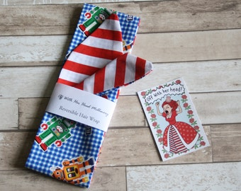 Reversible Rockabilly Style Hair Band, Hair Wrap, Robots Print with Candy Stripe Cotton 50's style Fabric Head Scarf