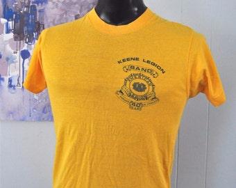 Vintage Tee 80s Keene American Legion Band NH Super Soft n Thin Goldenrod Gold Orange Yellow MEDIUM