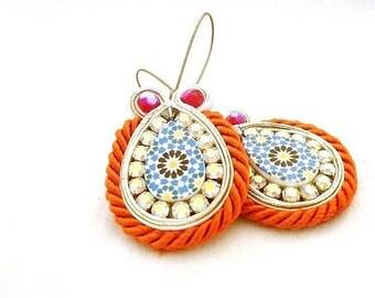 long boho drop beaded earrings , orange blue embelished tear shaped earrings , CATARINA , soutache jewelry , statement drop earrings