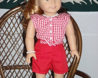 1950s 2 Pc Outfit Shirt Shorts for American Girl Maryellen 18 inch doll