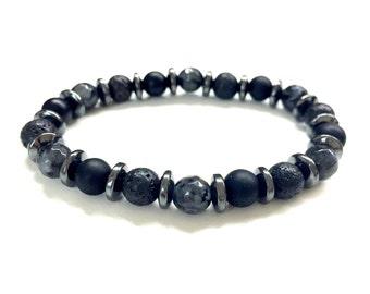 Guy's Bead Bracelet. Men's Gemstone Jewelry. Black Onyx, Labradorite, Lava Bead Bracelet. Stretch Bracelet. Elastic Bracelet. For Him