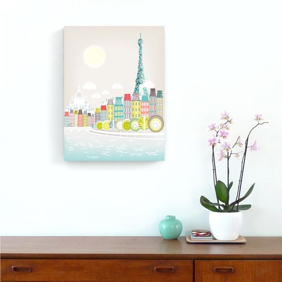 Paris Skyline Art Print Canvas, Eiffel Tower, Seine, Framed Canvas Illustration, Home, Office and Nursery Decor, Pastels, Retro PSBCW01