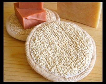 Round Facial Scrubber Pad • Boucle Ramie & Cotton Nubby Scrub Pad • Spa Tool •  For Men, Women, Teens • Soap Accessory Gift Stocking Stuffer