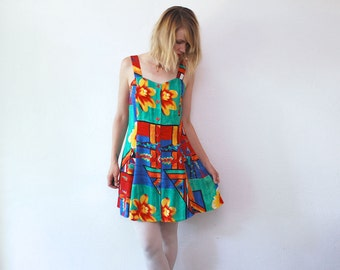 80s 90s summer dress. African print dress. bright mini dress - medium