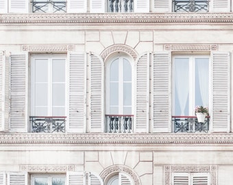 Paris Architecture Photograph - Windows and Shutters, Travel Photography,  Large Wall Art, Neutral French Home Decor, Fine Art Photo